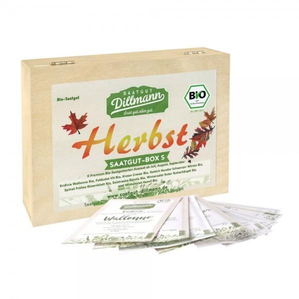 Herbst Saatgut-Box S Bio in Holzkiste