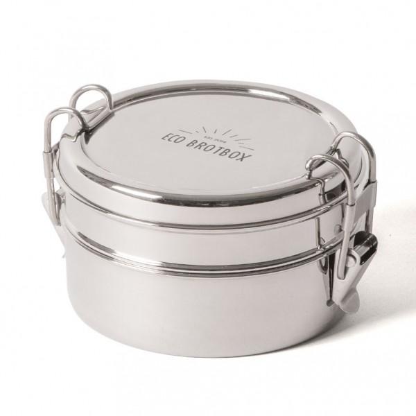 ECO Brotbox Tiffin Double+ runde Lunchbox aus Edelstahl, zweilagig
