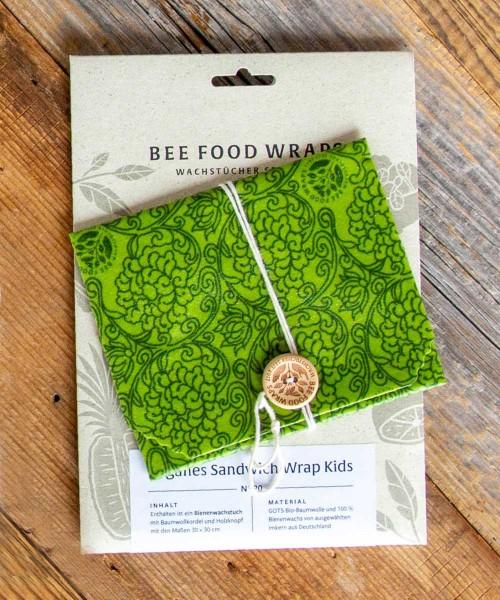 Veganes Wachstuch Sandwich Wrap - mit Holzknopf und Baumwollkordel