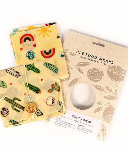 Veganes Wachstücher 2er-Set für Kinder - aus Snackbeutel & Sandwich-Bag