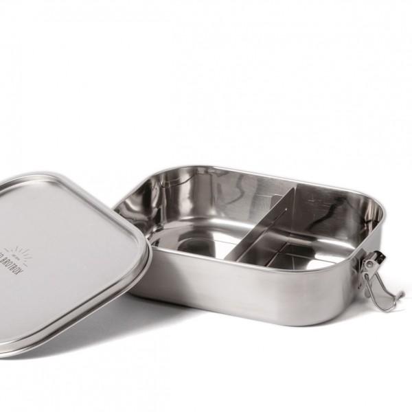 ECO Brotbox Bento Flex+ aus Edelstahl, auslaufsicher (mit variablem Trennsteg)