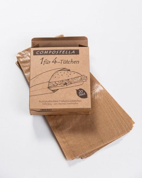 Compostella 1-für-4 Papierbeutel 100 % kompostierbar - zum Einfrieren, Backen, Aufbewahren