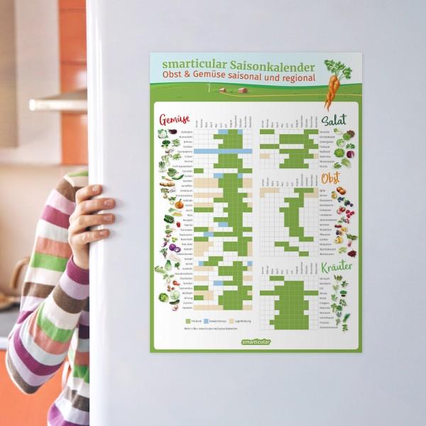 Saisonkalender DIN A3 - alle Obst- und Gemüsesorten regional und saisonal im Überblick
