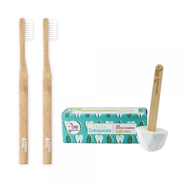 Zero-Waste-Zahnputzset S: 2 Bambus-Zahnbürsten inkl fester Zahnpasta