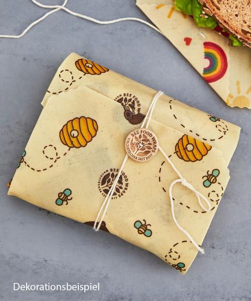 Bienenwachstuch Sandwich Wrap für Kinder - mit Holzknopf und Baumwollkordel