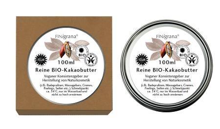 100 % Reine Bio-Kakaobutter, 100 ml in Weißblechdose
