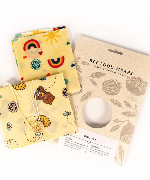 Bienenwachstücher 2er-Set für Kinder - aus Snackbeutel & Sandwich-Bag