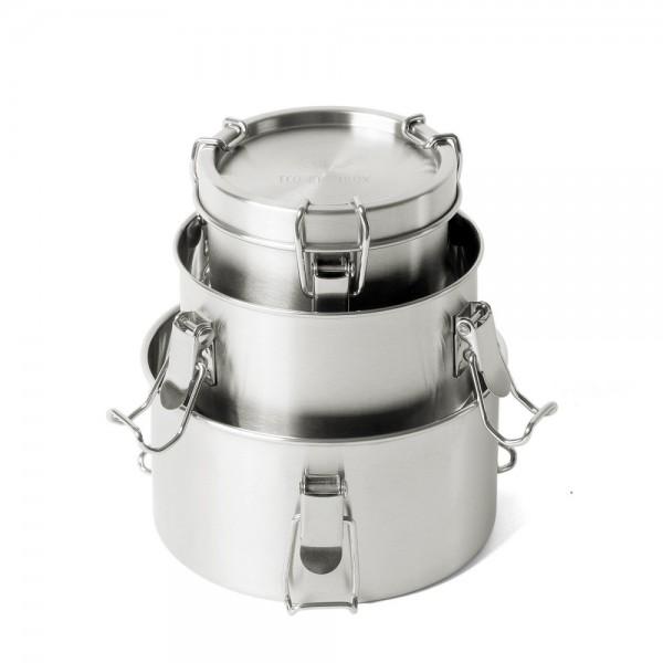 ECO Brotbox Bao Bowls+ (3er Set) - runde Edelstahlbehälter in verschiedenen Größen