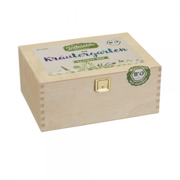 Kräutergarten Saatgut-Box S Bio in Holzkiste