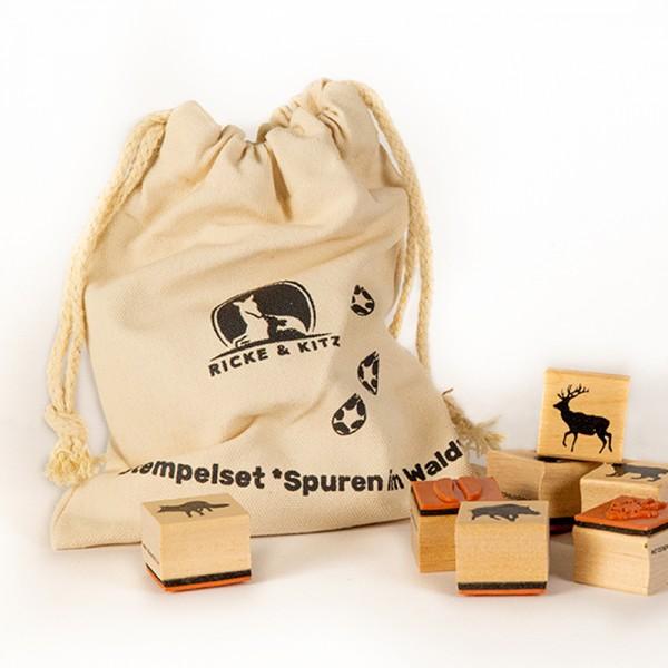 Stempelset Spuren im Wald (10 Holzstempel mit Tierspuren und Stempelkissen)