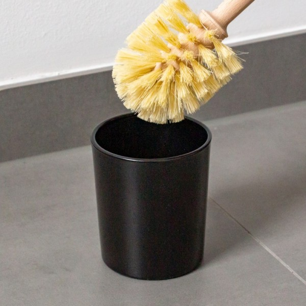 WC-Bürsten-Halter aus Glas, schwarz (plastikfrei)